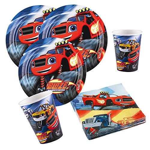 s Party-Set Blaze und die Monster-Maschinen - Teller Becher Servietten für 8 Kinder ()