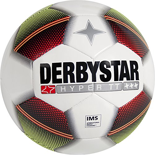 Derbystar Hyper TT 1010500153 - Balón de fútbol, Color Blanco, Rojo, Amarillo y Negro, tamaño 5