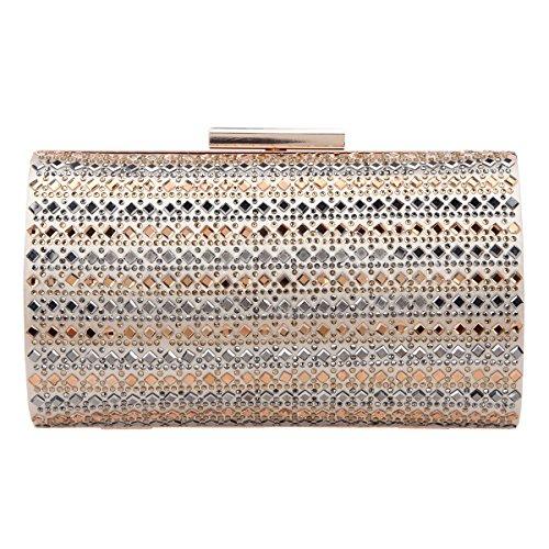 Bonjanvye Diamonds Box Clutches for Women Evening Clutch Purse Gold - Womens Born Zubehör
