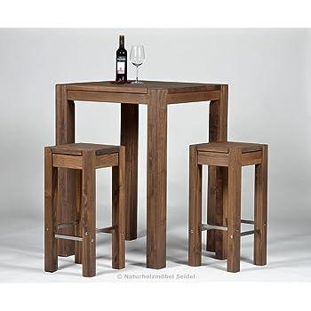bartisch 2 barhocker hochtisch bistrotisch stehtisch rio bonito 80x80cm pinie massivholz. Black Bedroom Furniture Sets. Home Design Ideas