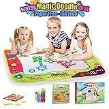 Aqua Magic doodle Malmatte, Lenbest 80x60CM 4 Farbe Kinder Wasser Zeichnung Mat Board mit 5 Magischer Stift, 1 Charakterform, 1 extra Dinosaurierheftchen - Pädagogisches Geschenk für Kinder