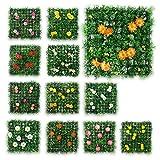 12er SET schöne dekorative RASEN-FLIESE in verschiedenen Farben & Blumenarten