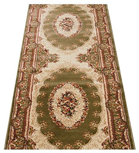 Tapiso noble tappeto passatoia corridoio tradizionale colore verde disegno classico ornamento facile da pulire 90 x 30 cm
