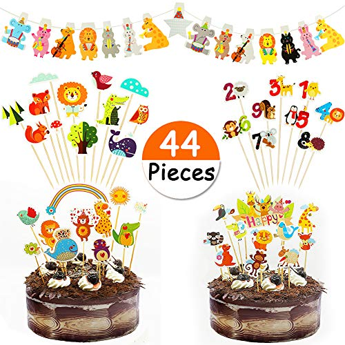 JDYW 44 Stück Zoo Tier Cupcake Toppers Dschungel Tiere Cake Topper Jungle Party Banner Safari Party Set für Kinder Geburtstag Babydusche (Safari Cupcake Toppers)