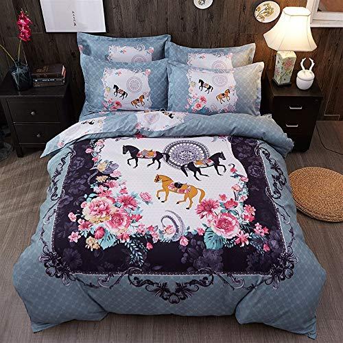 UOUL Bettwäscheset Baumwolle 4-teilig Weiche Klassische Pferd Schlafzimmer Atmungsaktiv Komfort Royal Adult King,Gray-Blue,Full\Queen (Bettwäsche Blue Queen Royal)
