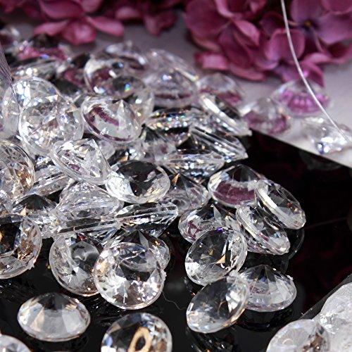 Deko Diamanten 20mm KLAR -GROßPACKUNG- Brillante Streudeko zur Tischdeko und Hochzeitsdekoration (KLAR)