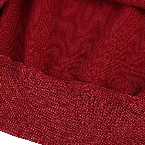 ... Coofandy Herren Langarmshirt Sweatshirt Freizeit Sport Pullover Loose  Fit Knotrastfarben mit 2-Tone Raglan Rot d1e926c8e5