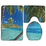 RedBeans Bild von Einem Tropischen Insel mit Palmen und Bright Sea Beach Thema Print Zoll Türkis und Blau Badezimmer Teppich 3-Teiliges Badematten-Set Contour Teppich und Deckel