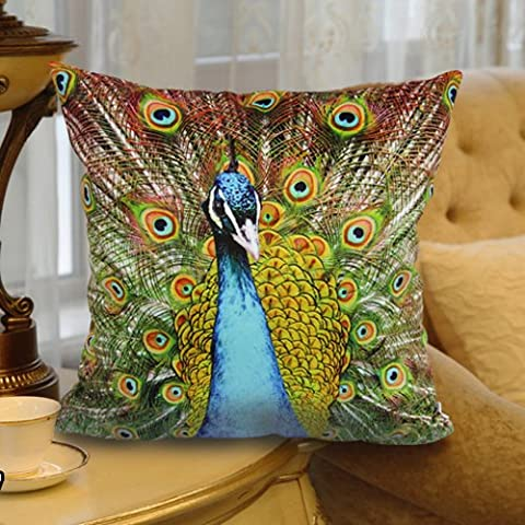 Luk Oil Elegant Blue Peacock Design on Both Sides High-grade Soft velvety Fabric Best Gift and Decorative Throw Pillow Case Sofa Cushion Cover Throw Pillow Sham Toss Pillow Case 16 by 16 Inch - Uses for Sofa/Chair/Bed by MeMoreCool