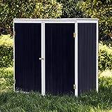 Wiltec Gartenschrank Holz Anthrazit Weiß 2 Türen 136x58x127cm Werkzeugschrank Garten