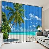 Waple Neue Benutzerdefinierte 3D-Schönen Strand Baum 3D-Vorhang Äußere Einrichtung des Hauses Schönen Fenster Vorhänge 240X260CM
