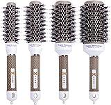 Professional Hairdresser's Ionic Dual-Bristle Brushes - Set of 4 - Heat-Retaining Ceramic Barrel
