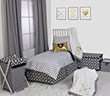Bacati Moustache/Plus Black Unisex Muslin 4 Piece Toddler Bedding Set