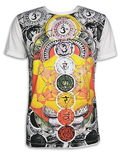 Mirror Herren T-Shirt - Die 7 Chakras Größe M L XL PSY Yoga Aura Chakren Esoterik Ethno Goa Trance (Weiss M)