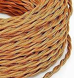 Elektrisches geflochtenes Kabel im Vintage-Stil überzogen mit farbigem Stoff in der Farbe Kupfer Whiskey Querschnitt 3x0,75 für Lampen, Leuchten, Nachttischlampen, Design. Hergestellt in Italien.