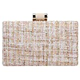 Bonjanvye Weave Fabric Clutch Bags for Women Evening Bags and Clutches Designer Beige