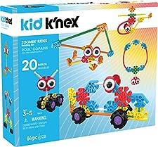 K'Nex Kid, Zoomin' Rides Building, set di costruzioni, per bambini dai 3anni in su. Giocattolo educativo prescolare, 64pezzi
