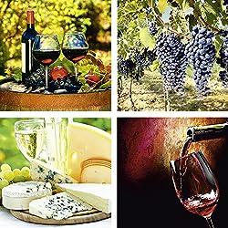 Artland Qualitätsbilder I Glasbilder Deko Glas Bilder 20 x 20 cm mehrteilig Ernährung Genuss Getränke Wein Foto Rot F2BB Gläser Rotwein, Toskanische Weintrauben, Käse und Wein, Wein