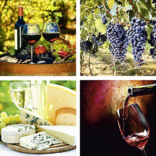 lder I Glasbilder Deko Glas Bilder 30 x 30 cm mehrteilig Ernährung Genuss Getränke Wein Foto Rot F2BB Gläser Rotwein, Toskanische Weintrauben, Käse und Wein, Wein ()