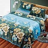 Kuscheldecken HMLIFE Blaue warme Decke Polyester Material Blumenmuster Winter Schlafzimmer Bettdecke Jahreszeiten Freizeit Decke weich und komfortabel (größe : 150 * 200 cm)