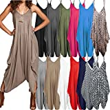 Ladies Baggy Harem Jumpsuit Romper Sleeveless All in One V-Neck Cami Playsuit