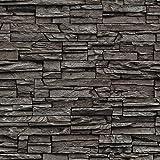 murando - Vlies Tapete - Deko Panel Fototapete - Wandtapete - Wand Deko - 10 m Tapetenrolle - Mustertapete - Wandtapete - modern design - Dekoration - Steine Steinwand Steinoptik Schwarz f-A-0020-j-c