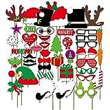 BEETEST 50 piezas Fotografía DIY foto stand accesorios Kit para Navidad boda cumpleaños graduados Favor fiesta decoración accesorios viaje Selfie Dress-up