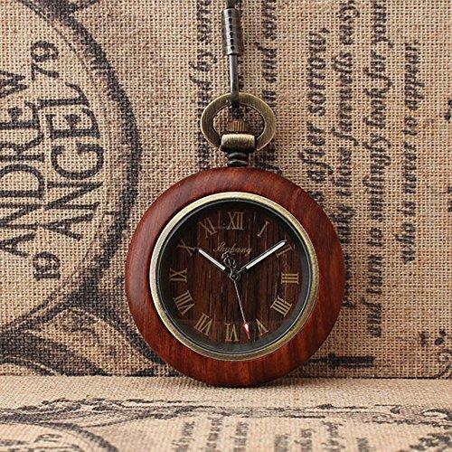 (QB-Pocket watches Paare Persönlichkeit Geschenke Mode Holz Roman Taschenuhr Classic No Cover Taschenuhr)