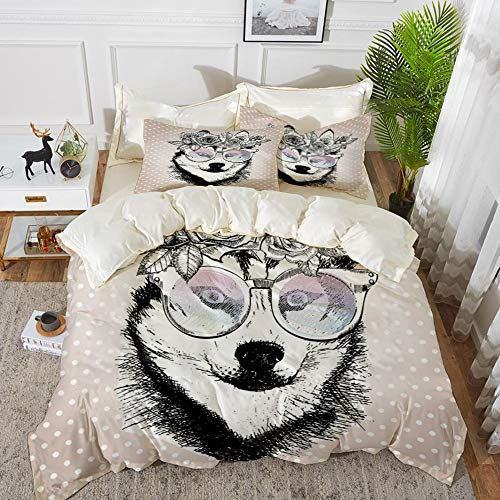 Yaoni Bettwäsche-Set, Mikrofaser, Alaskan Malamute, Vintage Polka Dots und Hund mit Blumenkranz und Sonnenbrille, Rose Gold Schwarz Weiß,1 Bettbezug 240 x 260cm + 2 Kopfkissenbezug 80x80cm