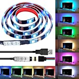 iluminacion para hdtv, caja de la computadora de luz LED, Makion 100cm multicolor 30leds flexible 5050 RGB LED USB luz de tira con 5v cable del USB y mini regulador para TV / PC / portátil de i