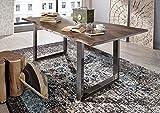 Massiv Esstisch Baumkante Baumtisch Akazie lackiert 200x100x76 grau Beine natur Metall FREEFORM 3