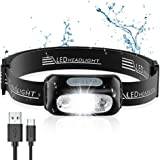 Cocoda Linterna Frontal, LED USB Recargable Linterna Cabeza con 4 Modes de Luz, Sensor de Movimiento, 160 Lúmenes, Impermeabl