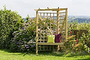 garden gartenlaube holz rosenbogen rankhilfe pergola sitzbank mit eck balkonm bel ref sa. Black Bedroom Furniture Sets. Home Design Ideas