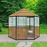 WEILANDEAL Aluminium-Pavillon 310x270x265 cm Braun Zelte Wasserdicht Außen Material des Seitenteils: Platte PC 4 mm Dicke