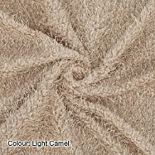 Neotrims Baby Soft Snarl Loops Pile Texture Jersey Fabric. For Apparel, Photography and Crafts, Cuddly Blanket Throws Material. Light Camel-1 meter
