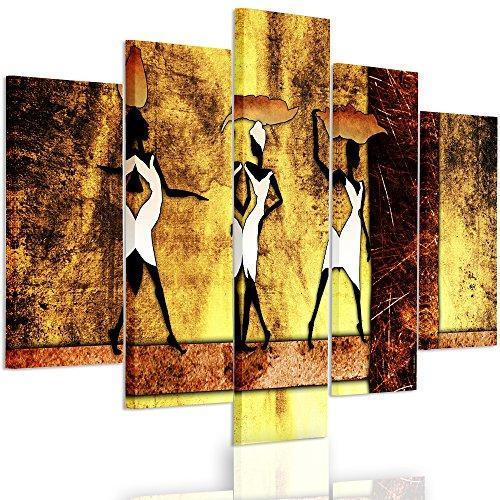Feeby Frames, Tableau multi panneau 5 parties, Tableau imprimé xxl, Tableau imprimé sur toile, Tableau deco, Pentaptyque Type A, 100x150 cm, AFRIQUE, FEMMES, PANIERS, VASES, TRIBU, BANDES, JAUNE, BRUN