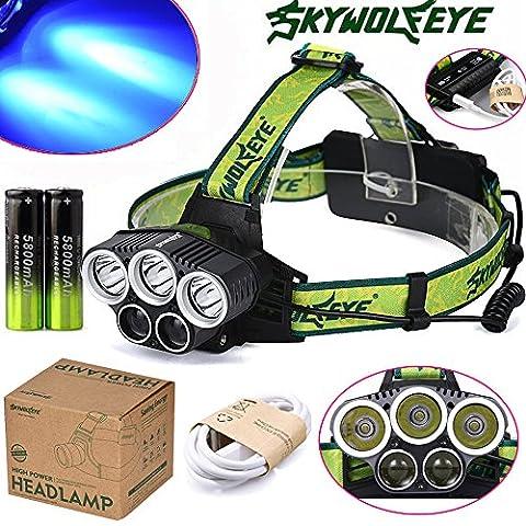 happytop Scheinwerfer 3x XM-L T6Weiß + 2x R2Blau LED 18650Scheinwerfer Scheinwerfer Taschenlampe Taschenlampe Lampe, damen Herren, Headlamp+USB+Batteries