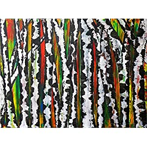 Birch tree, colorful acrylic painting on canvas