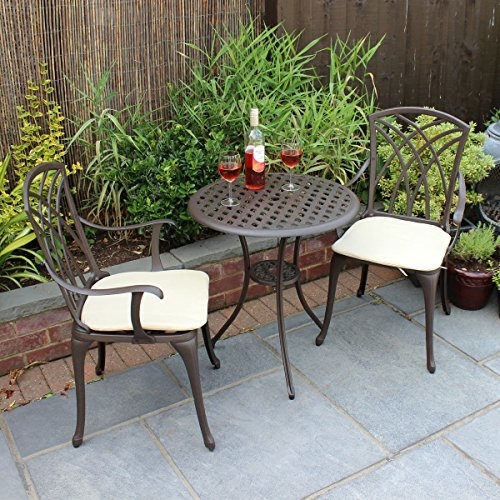 Charles Bentley Cast Aluminium Bistro Table and 2 Armchairs Set with Cushions - Color: Black