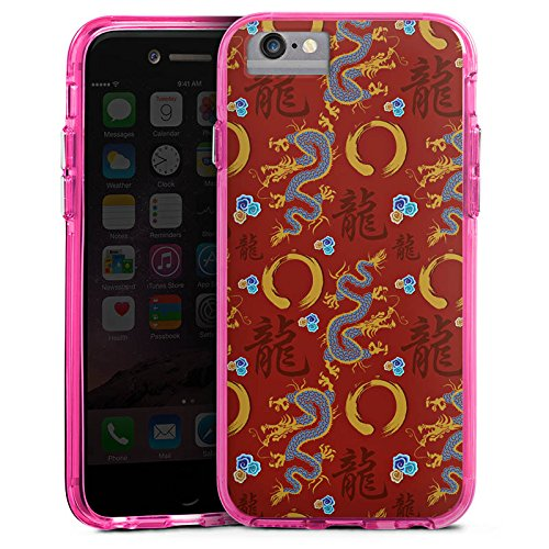 Apple iPhone X Bumper Hülle Bumper Case Glitzer Hülle China Drachen Dragons Bumper Case transparent pink