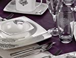 Taç Elegance Dynasty Platin 85 Parça 12 Kişilik Bone Yemek Takımı