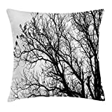 MLNHY Nature Throw Pillow Cushion Cover, Leafless Autumn Fall Tree Branches Tops Oak Forest Woodland Season Eco Theme, Decorative Square Accent Pillow Case, 18 X 18 inches, Black and White