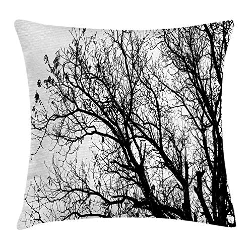 DDOBY Funda de cojín Nature Throw Pillow, sin Hojas, otoño, otoño, Ramas de árboles, Tema de Eco de la Temporada de Oak Forest Woodland, Decorativa, Decorativa y Cuadrada, en Blanco y Negro