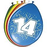 Folat 08215 14e verjaardag ballonnen 30 cm-8 stuks, meerkleurig