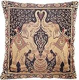 Indische Banarasi Seide Schwarz Deko Kissenbezüge 40 cm x 40 cm , Extravaganten Elefant Design für Sofa & Bett Dekokissen, Kissenhülle aus Indien