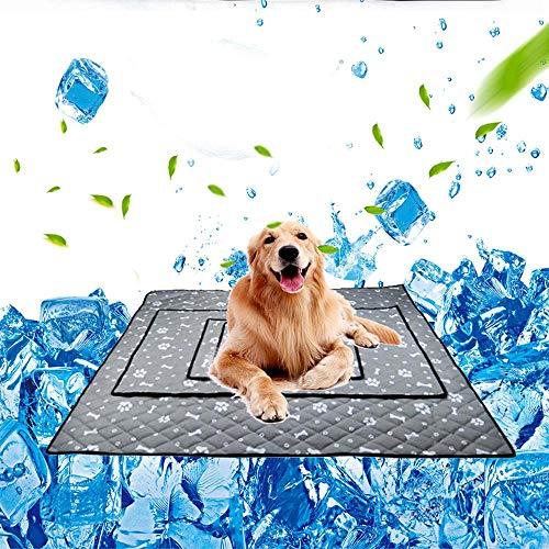 MOGOI Kühlmatte für Hunde, Atmungsaktives, selbstkühlendes Hundemattenpad, Nicht haftende Seideneismatte für kühlen Komfort im Sommer für Zuhause/Reisen/Autositze/Kisten/Betten (XL, Grau)