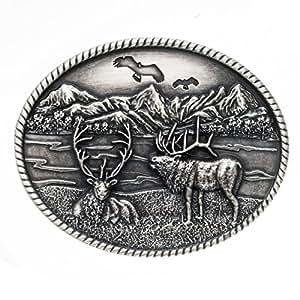 Thabto buckle cerfs cerf-chasse-costume traditionnel-boucle de ceinture argenté