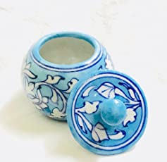 Shriyam Craft Lovely Sugar Jar in Blue Pottery