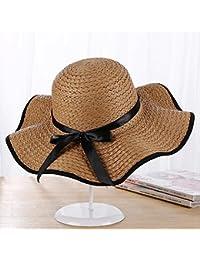 Axiba Arco de la Señora de Sombrero Abrigo Lado Aleros de Gran Sombrero de Paja  Playa 8a299ef779e
