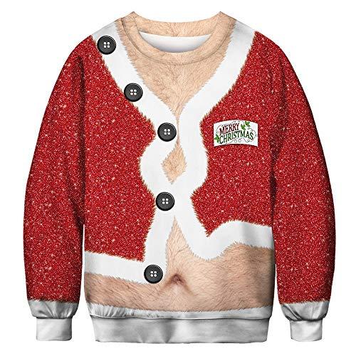 Navidad de Jersey para Hombre,ZARLLE Unisex Sudaderas con Capucha Impreso Suéter chándales Camisas Blusa Cuello Redondo de Mangas Largas Estilos Navidad